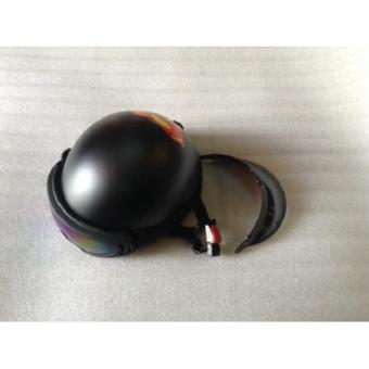 Mũ bảo hiểm tem siêu nhân+kính uv loại 1 (đen nhám)