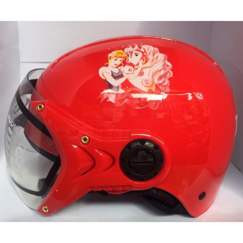 Mũ bảo hiểm trẻ em tem công chúa (Đỏ)