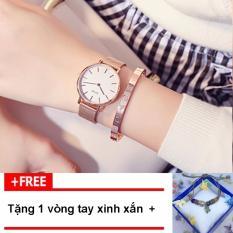 [TẶNG VÒNG TAY KHI MUA] Đồng hồ nữ GUOU chất liệu dây thép lụa vạch số thời thượng G48-2