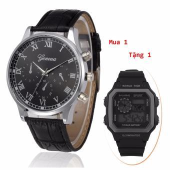 (Mua 1 Tặng 1)Đồng hồ nam dây da Geneva cao cấp + Tặng kèm đồng hồ điện tử kiểu dáng thể thao chạy full