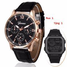 Tư vấn mua (Mua 1 Tặng 1)Đồng hồ nam dây da Geneva cao cấp + Tặng kèm đồng hồ điện tử kiểu dáng thể thao chạy full