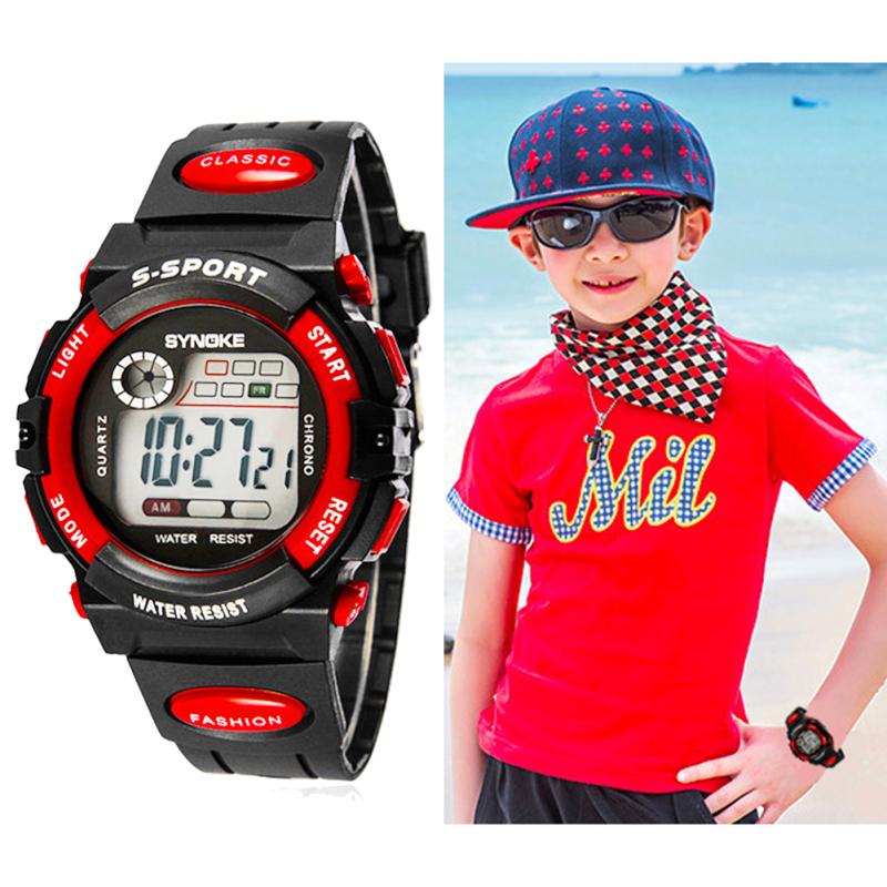 Nơi bán Multifunction Waterproof Child Boy Girl Sports Electronic Wrist Watch Red