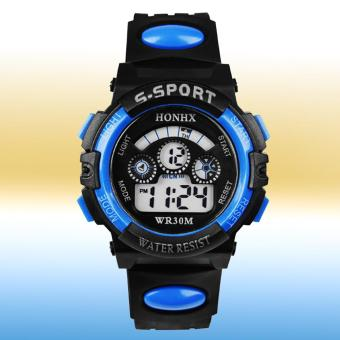 Multifunction Waterproof Sports Electronic Children Watches (Blue)- intl - 2
