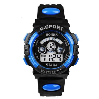 Multifunction Waterproof Sports Electronic Children Watches (Blue)- intl