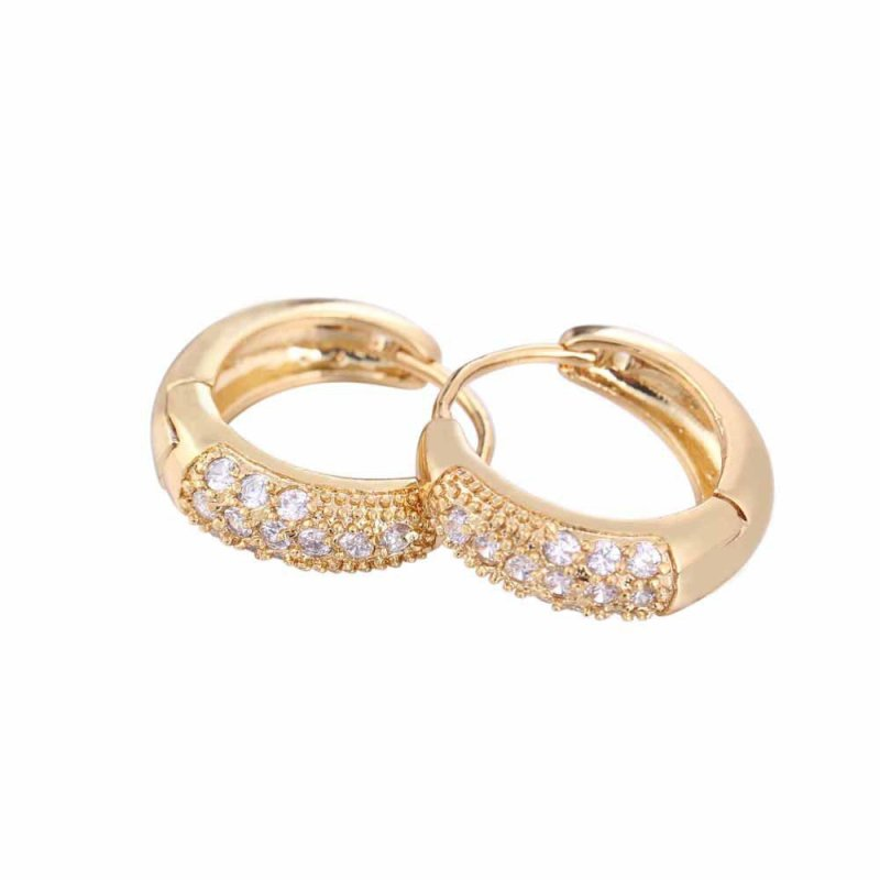 New Fashion 18K Gold Plated Diamante Zircon Hoop Huggie Earrings Earclip - intl