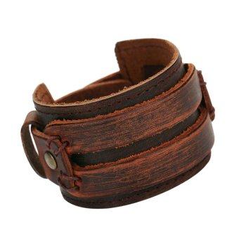 New Genuine Cowhide Leather Fashion Jewelry Charm Bracelet (Coffee) - Intl