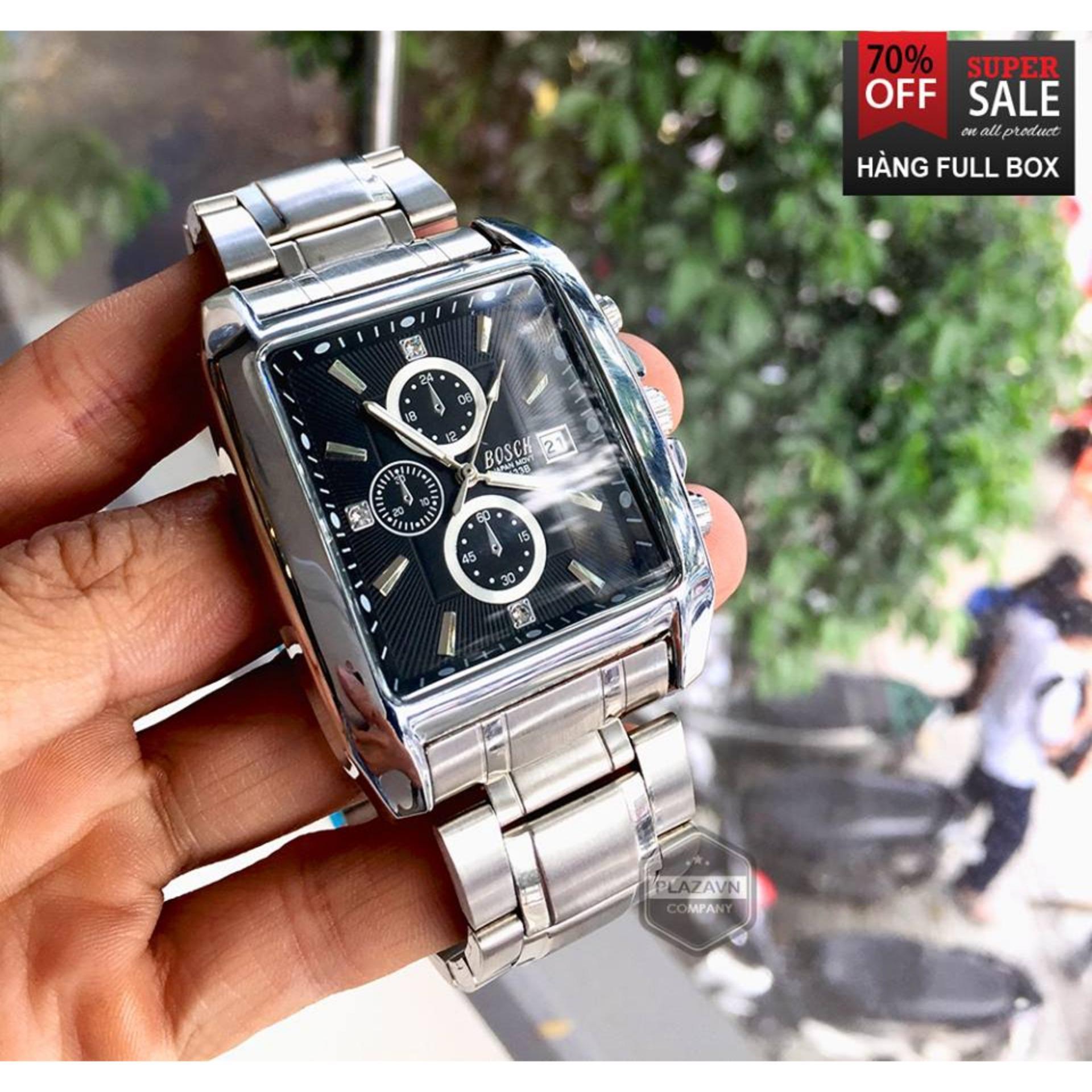 (NEW MODEL) Đồng hồ nam BOSCK 3133G dây thép bạc, mặt vuông, chống xước chống nước, lịch ngày + QUÀ TẶNG