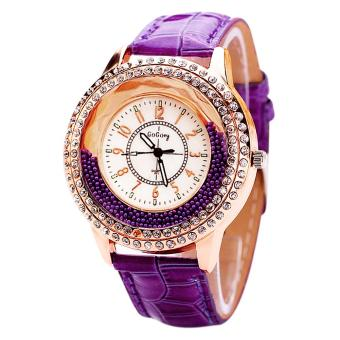 New Vogue Women Crystal Dial Quartz Bracelet Wrist Watch Purple (Intl)