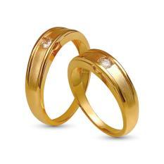 Nhẫn cặp đá kim cương nhân tạo mạ vàng 14k