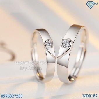 Báo Giá Nhẫn đôi Nhẫn cặp bạc trái tim ghép ND0187