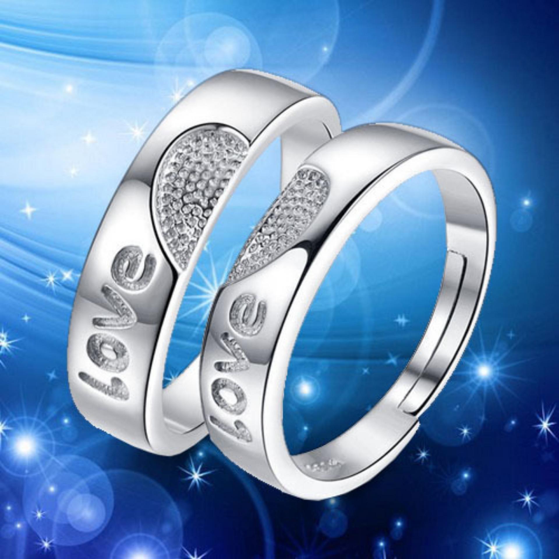 Nhẫn đôi tình yêu thời trang trái tim Love lấp lánh sang trọng HHN-JZ99(Nhẫn cặp)