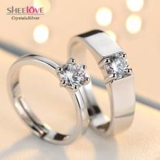 Nhẫn đôi tình yêu vĩnh hằng kim cương 6 chấu lấp lánh Freesize SPR-JZ154