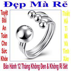 Nhẫn inox nữ Đẹp Mà Rẻ kiểu 4 bi màu bạc – NNU00002T020059