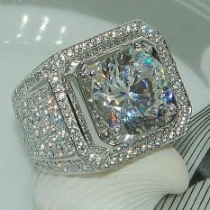 Nhẫn nam đính đá hạt sang trọng mạ bạc
