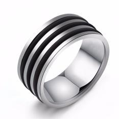 Nhẫn nam inox trắng 3 sọc đen trang sức thời trang