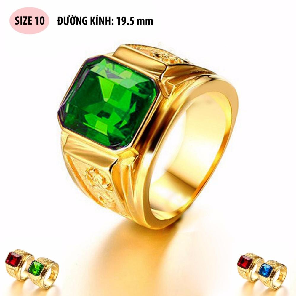 Nhẫn nam thời trang chạm rồng mạ vàng 24k, mặt đá xanh lá RCR183