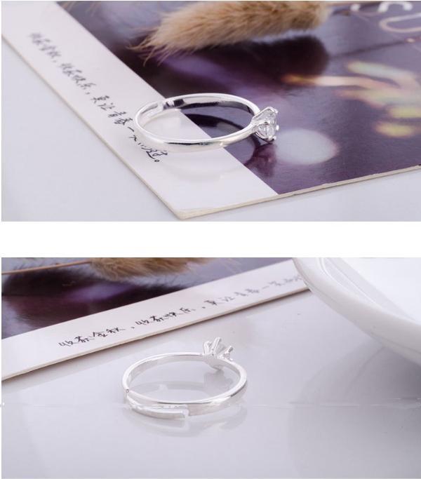 Nhẫn nữ đính đá trắng Simple Style phong cách Châu Âu (NN07)