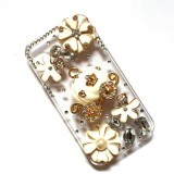Nơi Bán niceEshop 3D Bling Crystal Cinderella Pumpkin Cart and Flower Stone Case for iPhone 5 5S (Clear) – Intl   niceE shop