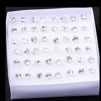 One Set of 24 Pairs Clear Artificial Crystal Allergy Free EarringsStud(Intl)