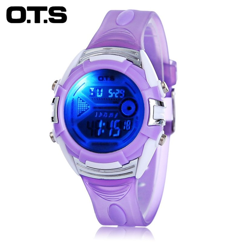OTS 6999L Children LED Digital Watch Date Day Alarm Display 3ATM Sports Wristwatch (Purple) - intl bán chạy