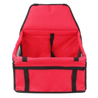 Portable Dog Car Seat Belt Booster Carrier Bag for Pet Cat Puppy Travel Safety Red - intl