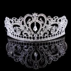 Công chúa Áo Cô Dâu Pha Lê Cưới Tóc Quả Quýt Hình Vương Miện Hứa Che Đầu Bạc-quốc tế