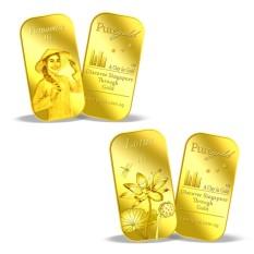 Puregold bộ đôi miếng vàng hình người phụ nữ Vietnam và hoa sen 1g- vàng 999.9 nhập khẩu Singapore