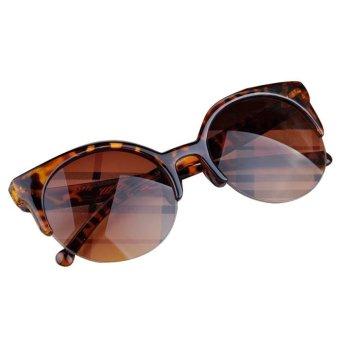 Retro Cat Eye Semi-Rim Round Sunglasses Yellow