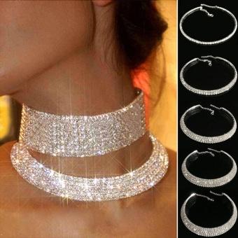 Rhinestone Necklace Diamond Row Women Jewellry Choker Wedding Decoration - intl