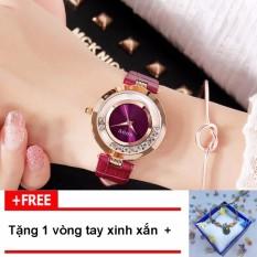 [RINH QUÀ KHI MUA] Đồng hồ nữ thương hiệu GUOU dây da mặt đá chạy G44-4, tặng vòng tay thời trang