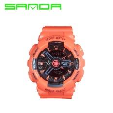 Sanda Thương Hiệu đồng hồ Chắc Chắn màu dây đeo đôi màn hình kim đôi đa chức năng ĐÈN LED học sinh thể thao kỹ thuật số màn hình hiển thị kăply kỹ thuật số đồng hồ nữ điện tử bàn 29201-qu ốc tế
