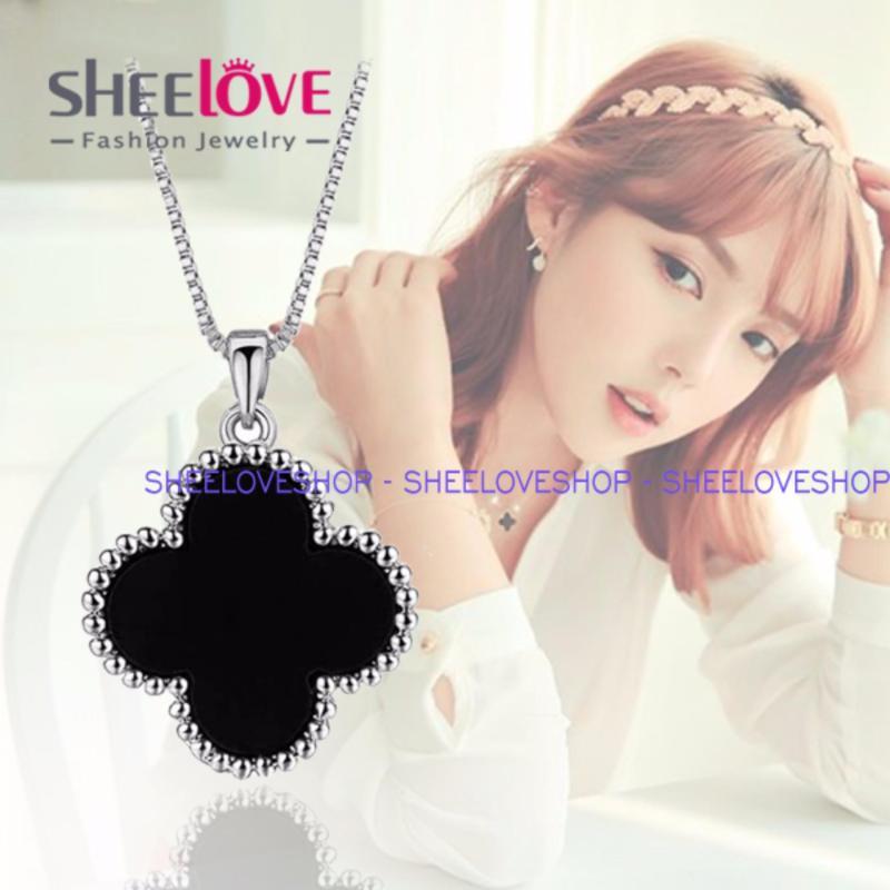 SHEELOVESHOP-Dây chuyền titan 18KGP hoa mai 2 mặt trắng đen thời trang cao cấp Hàn Quốc TG-N201 (Độc Quyền)