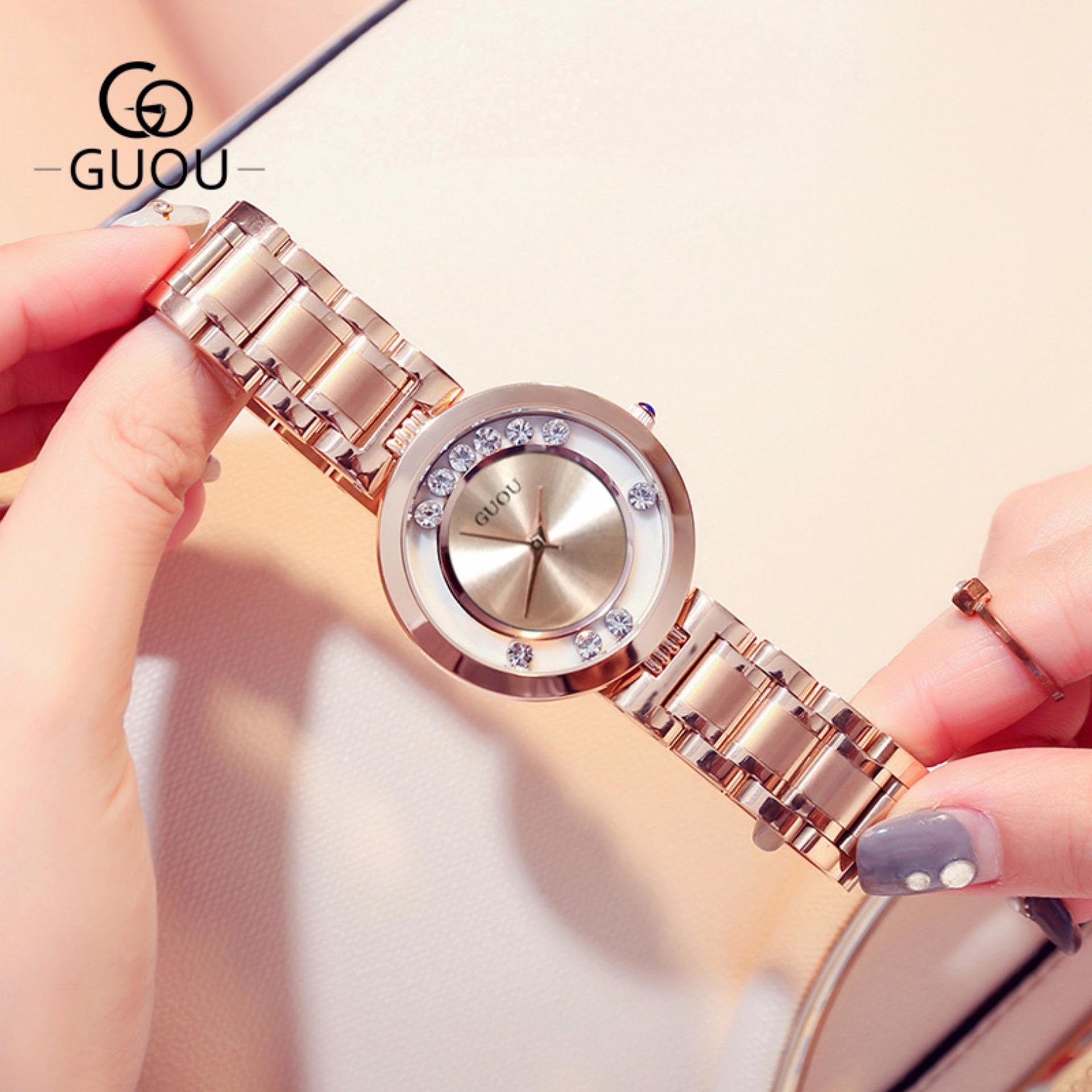 Báo Giá [SIÊU GIẢM GIÁ] Đồng hồ nữ thương hiệu GUOU mặt tròn có đá chạy dây thép thời trang G36-4