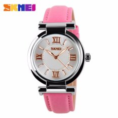 SKMEI 9075 Women's Watch Quartz Watch Fahsion Women's Leather Watch – Pink – intl