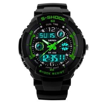 SKMEI Women Sport LED Waterproof Rubber Strap Wrist Watch - Green 0931 - intl