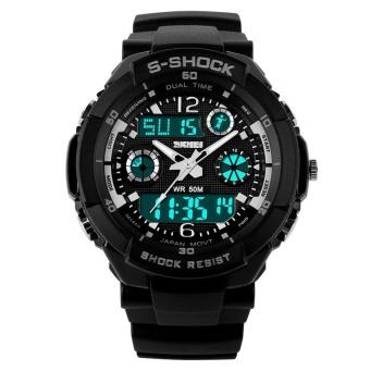 SKMEI Women Sport LED Waterproof Rubber Strap Wrist Watch - Silver 0931 - intl