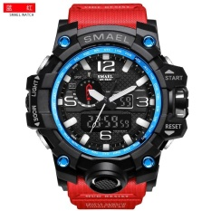 SMAEL 1545 Pure Color Band Waterproof Sport Watch Digital Analog Dual Display Japan Quartz Watch Red – intl
