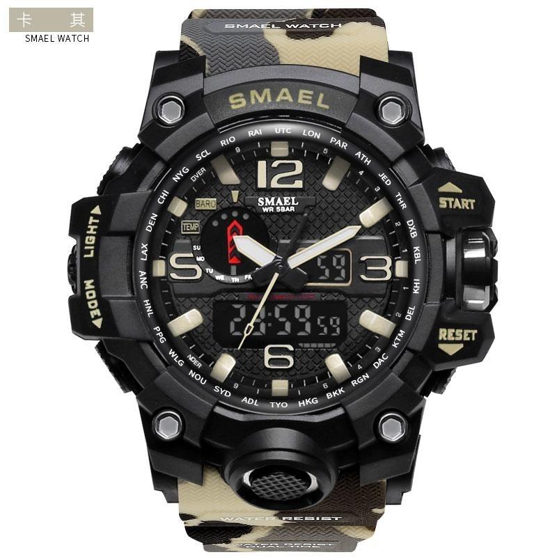 Nơi bán SMAEL 1545 Waterproof Camouflage Military PU Digital Watch LED Digital Dual Display Electronic Watch Khaki - intl