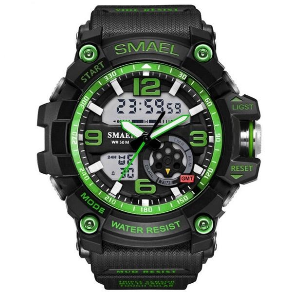 SMAEL 1617 LED Digital Watch Digital Analog Dual Display Japan Movement Men Watch Green – intl