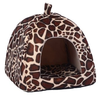 Soft Strawberry Pet Dog Cat Bed House Coffee (Intl) - intl