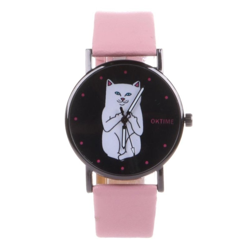 Student Lovely Cat Round Black Crystal Dial Quartz Watch (Pink) - intl bán chạy