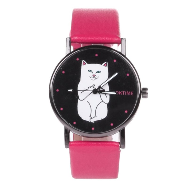 Student Lovely Cat Round Black Crystal Dial Quartz Watch (Rose Red) - intl bán chạy