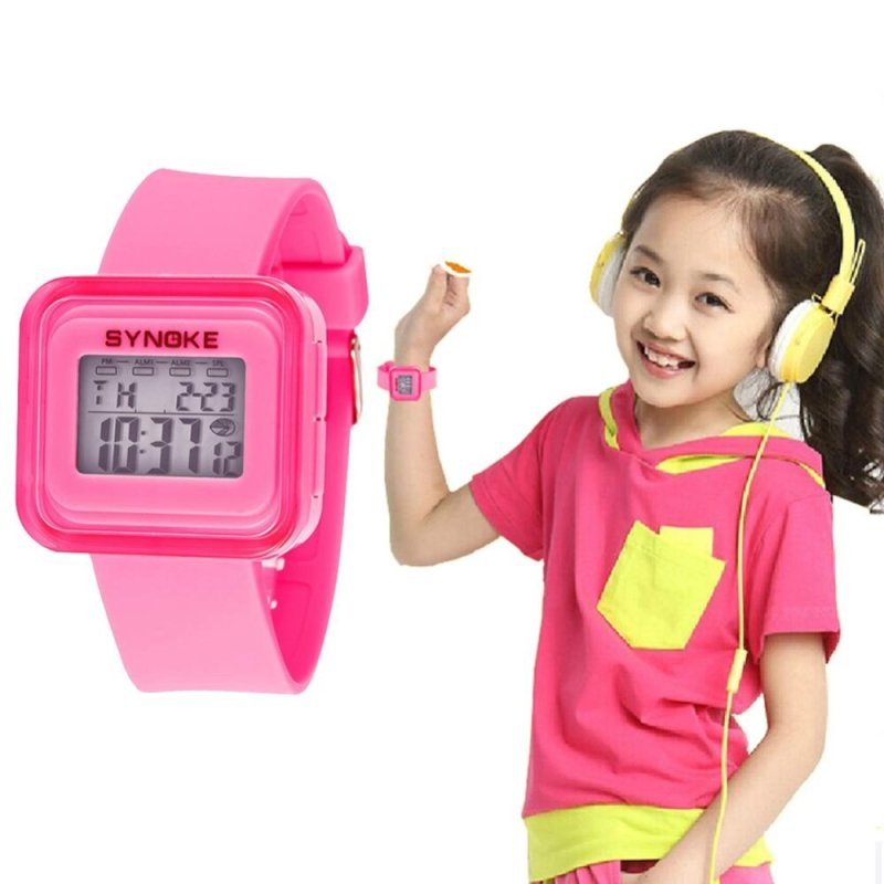 Students Pink Sports Digital Waterproof Jelly Luminous Alarm Watch Gift - intl bán chạy