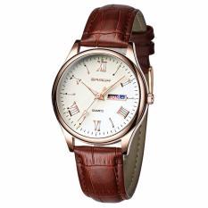 (Tặng kèm pin dự phòng)Đồng hồ nam dây da SANDA JAPAN Kính đổi màu cao cấp – Mặt trắng