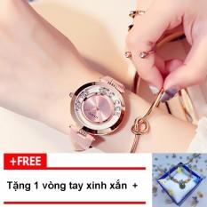 [TẶNG VÒNG TAY KHI MUA] Đồng hồ nữ GUOU chất liệu dây da mặt đá lăn thời thượng G44-2