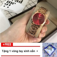 [TẶNG VÒNG TAY KHI MUA] Đồng hồ nữ GUOU chất liệu dây thép mặt viền trơn thời thượng G51-2