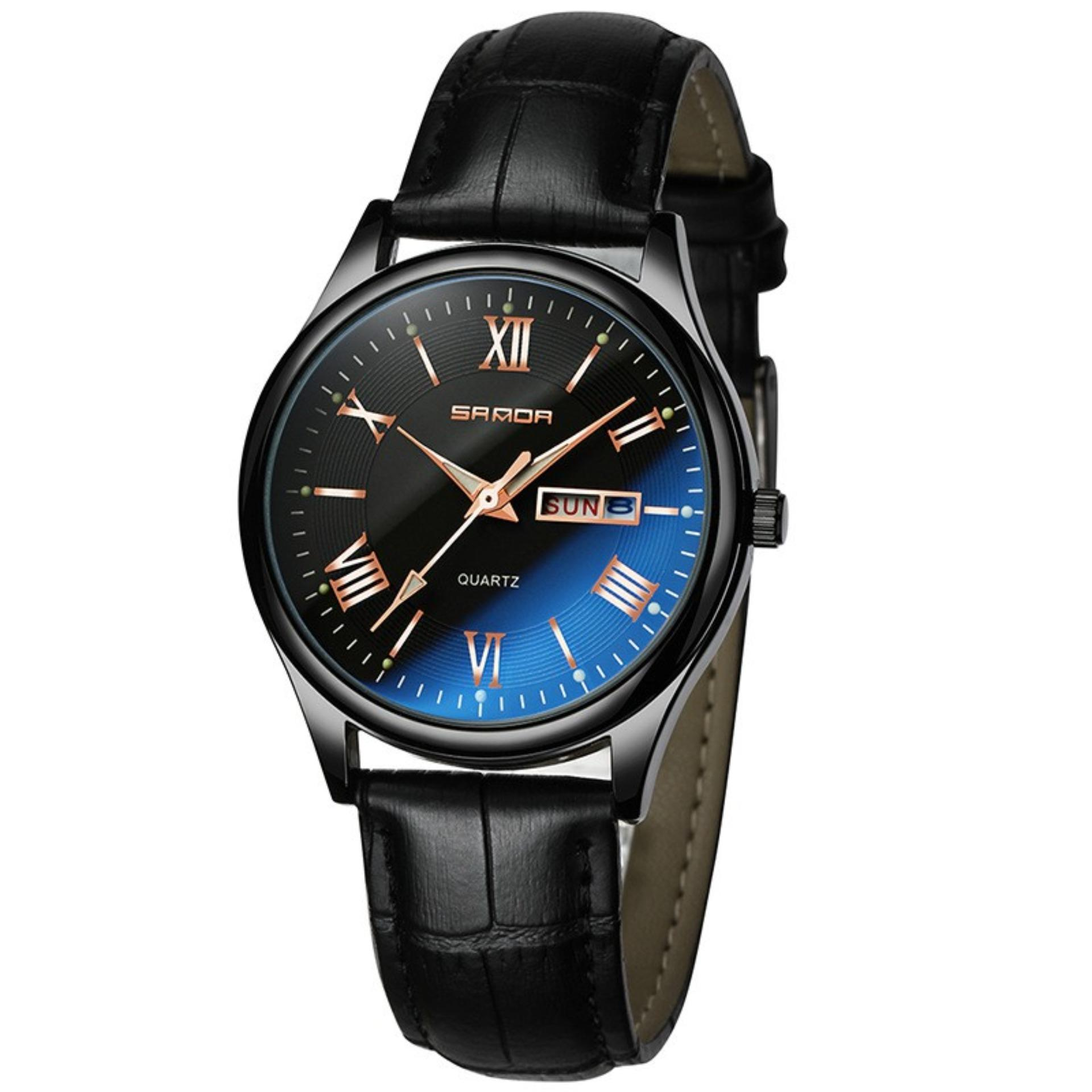 (Tặng vòng tay tỳ hưu may mắn)Đồng hồ nam dây da SANDA JAPAN Kính đổi màu cao cấp – Màu đen