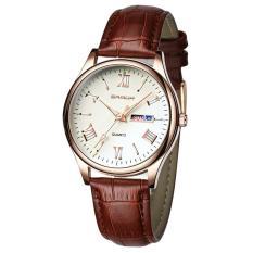(Tặng vòng tay tỳ hưu may mắn)Đồng hồ nam dây da SANDA JAPAN Kính đổi màu cao cấp – Màu trắng