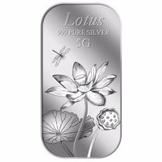 Puregold Thỏi bạc hình hoa sen 5g – Bạc nguyên chất nhập khẩu Singapore
