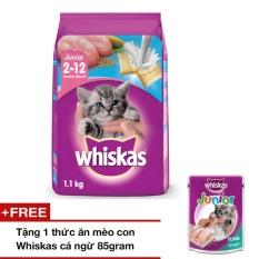 Thức ăn mèo con Whiskas vị cá biển & sữa 1.1kg + tặng 1 thức ăn mèo con Whiskas vị cá ngừ 85gr
